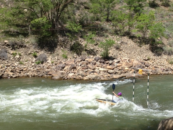 A kayaker hits the rapids