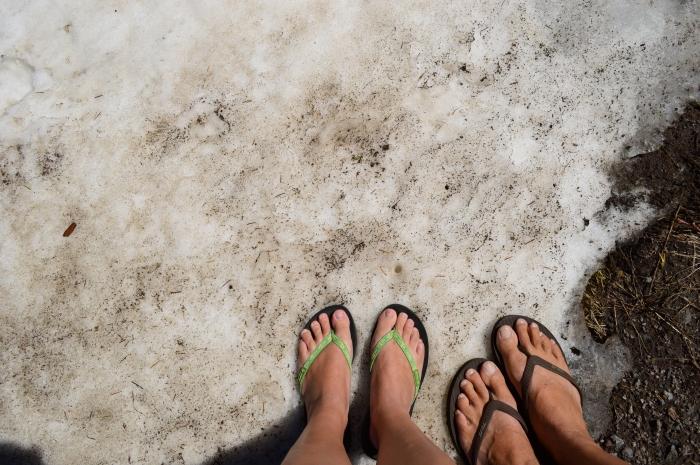 Flip-flops in the snow